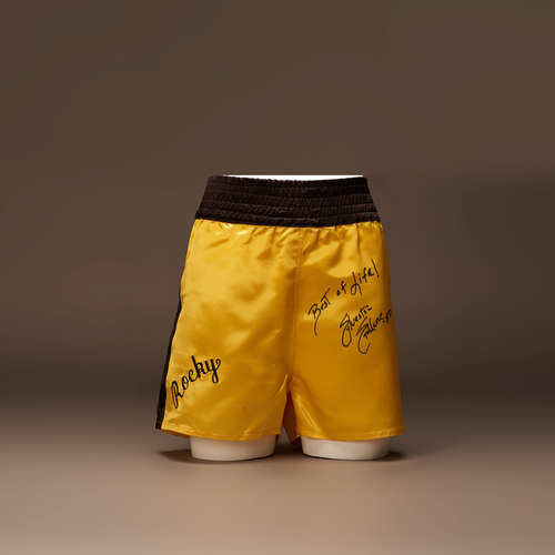 Rocky's Boxing Shorts signed by Sylvester Stallone